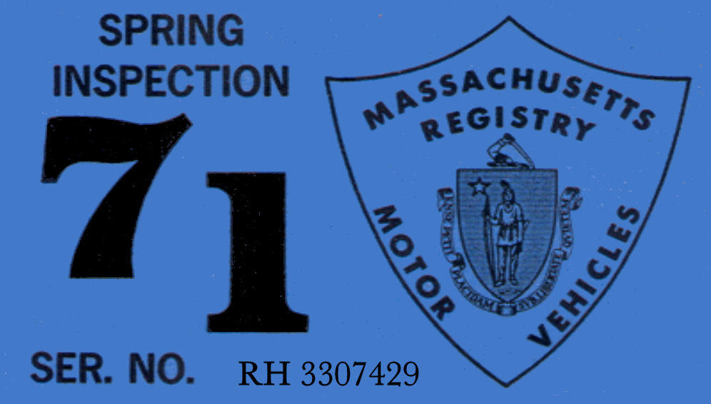 1971 Massachusetts SPRING INSPECTION Sticker