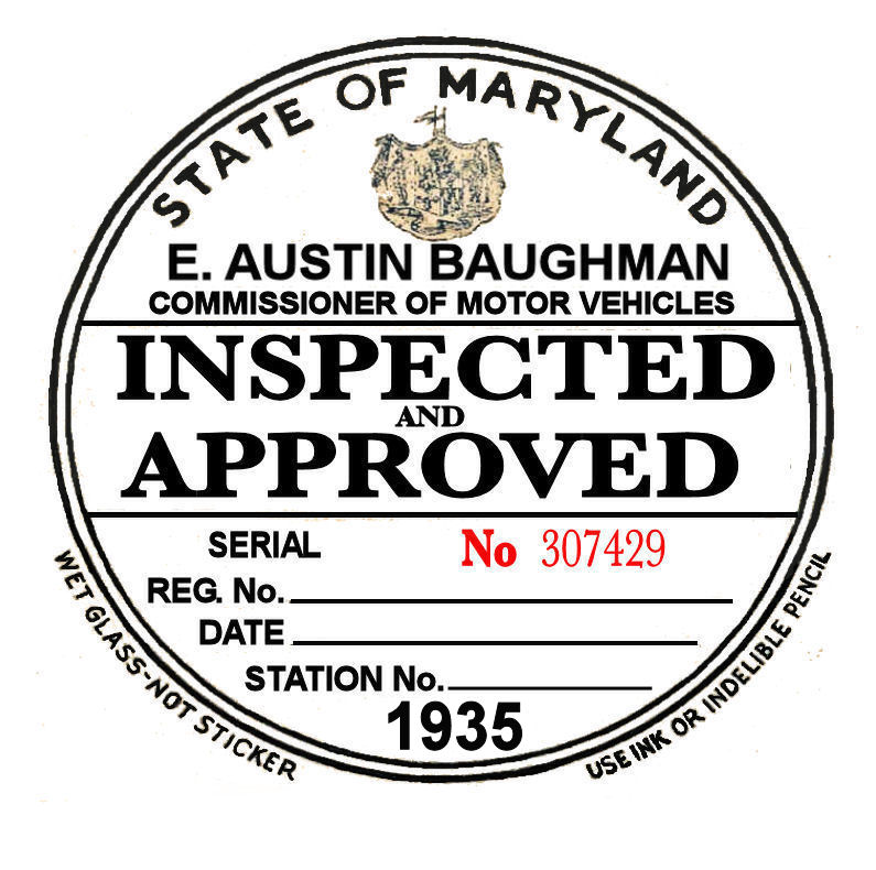 1935 Maryland inspection sticker