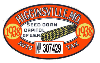 1938 MO Tax Registration/Inspection Higginsville