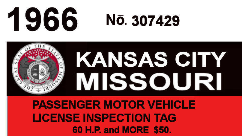 1966 Missouri Tax inspection sticker