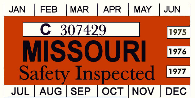 1975, 76, 77 Missouri INSPECTION Sticker