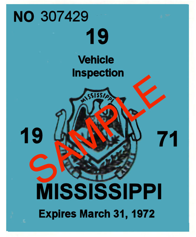 1971 Mississippi inspection Sticker