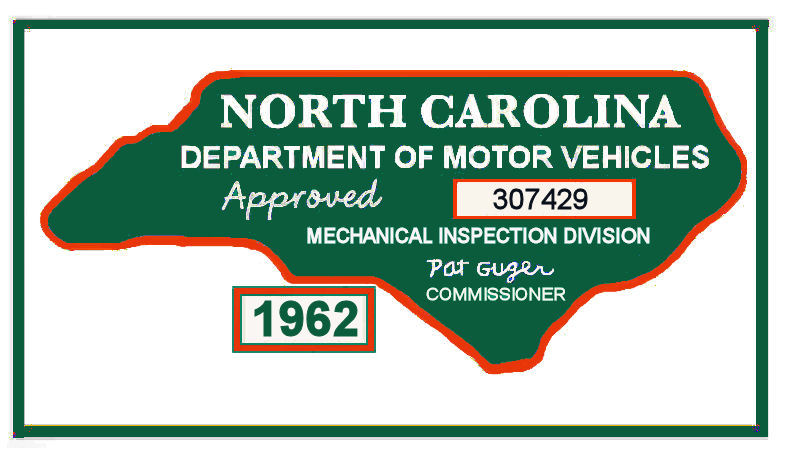 1962 North Carolina Inspection sticker