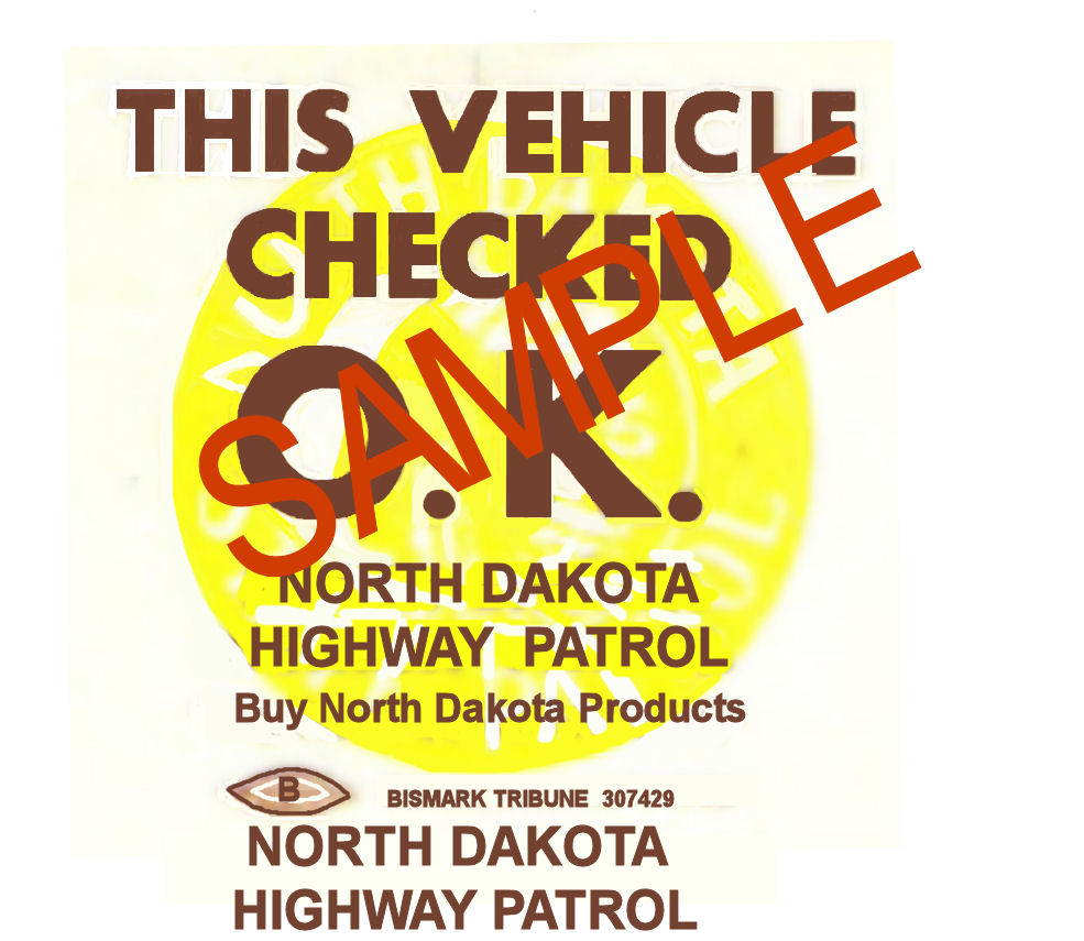 1971 North Dakota INSPECTION Sticker