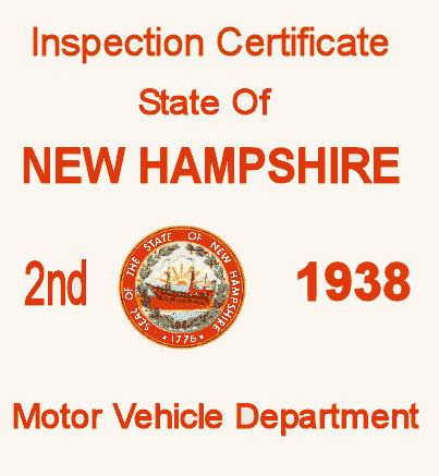 1938 New Hampshire Inspection Sticker 2nd