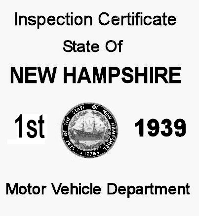 1939 New Hampshire Inspection Sticker 1st