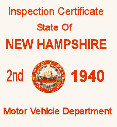 1940 New Hampshire INSPECTION Sticker 2nd