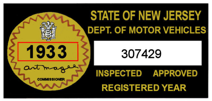 1933 New Jersey Safety Check Inspection Sticker