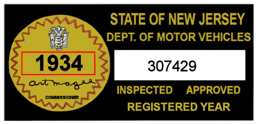 1934 New Jersey Safety Check Inspection Sticker