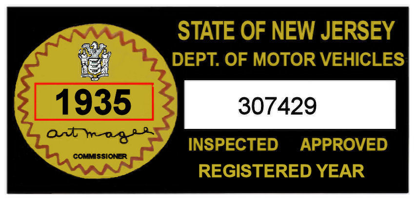 1935 New Jersey Safety Check Inspection Sticker