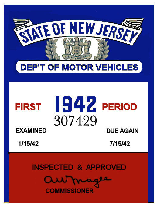 1942 1st Period New Jersey Inspection Sticker