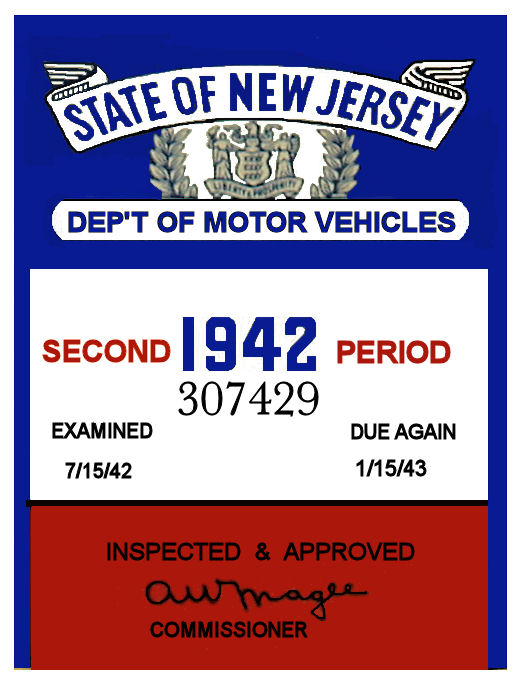 1942 2nd Period New Jersey Inspection Sticker