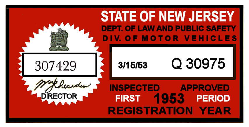 1953 1st Period New Jersey INSPECTION Sticker