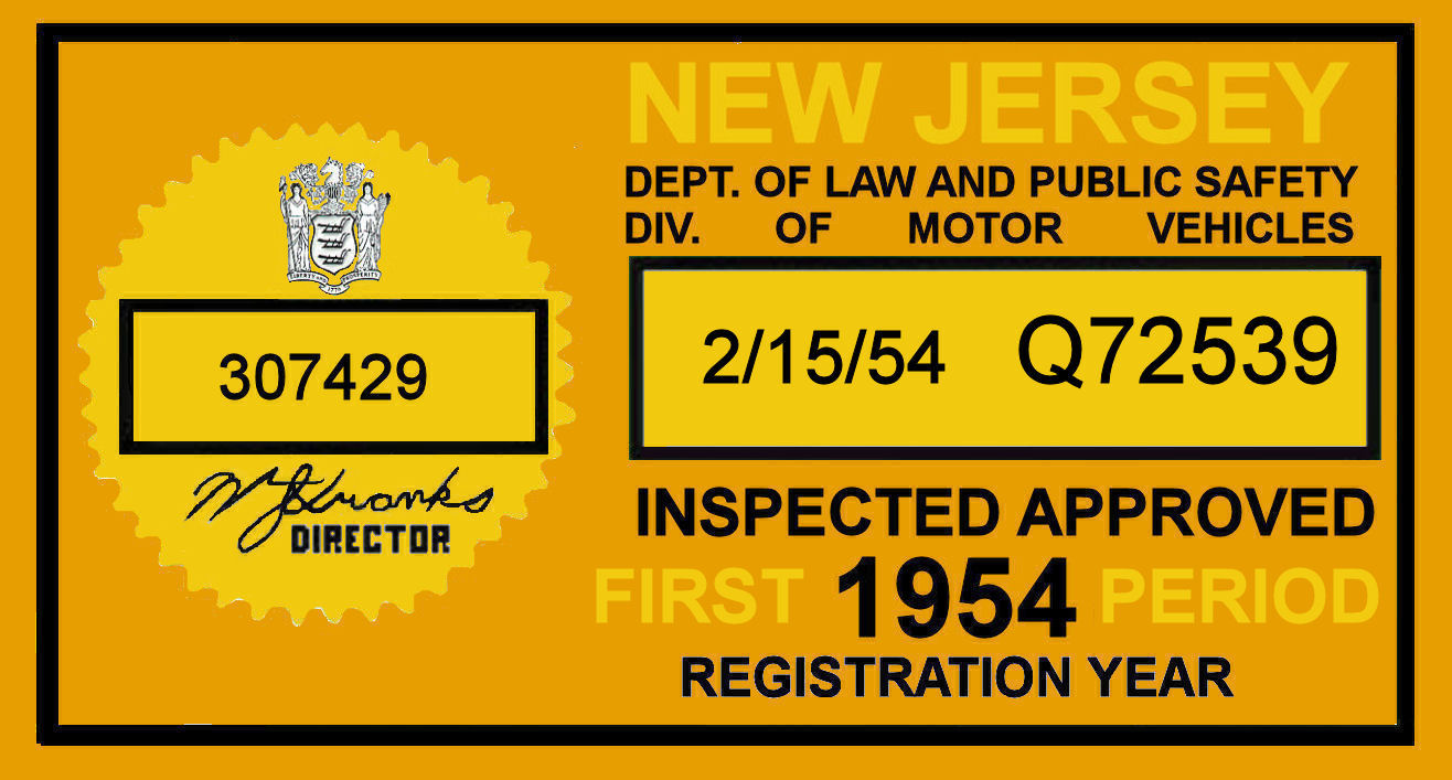 1954 1st period New Jersey Inspection Sticker