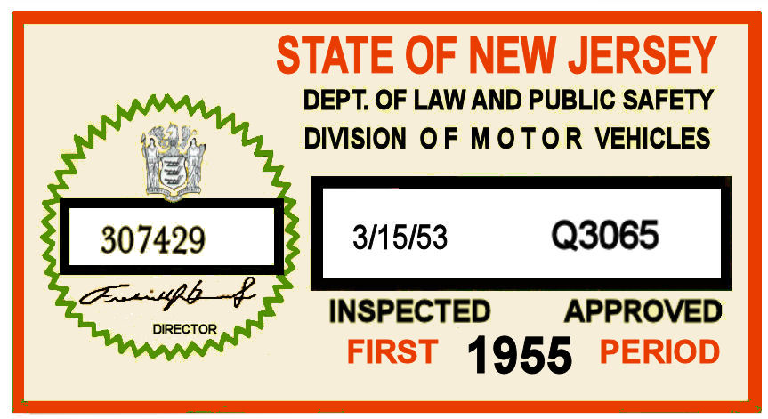 1955 New Jersey First Period Inspection Sticker