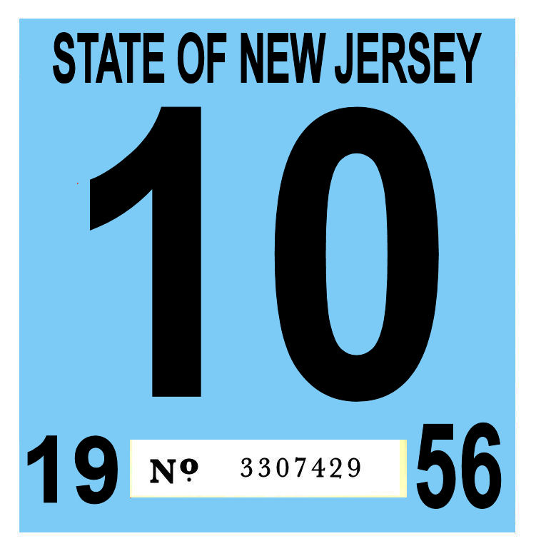1956 New Jersey INSPECTION Sticker