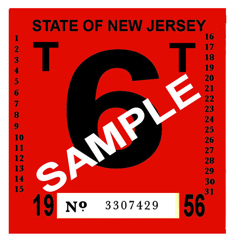 00 New Jersey FAILED REJECTION Sticker 1950s