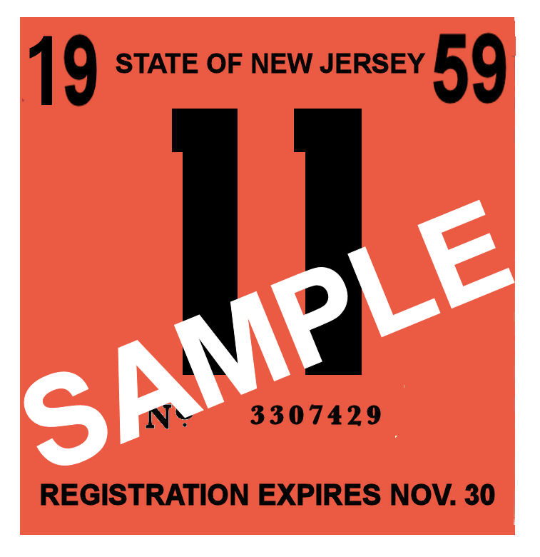 1959 New Jersey INSPECTION Sticker