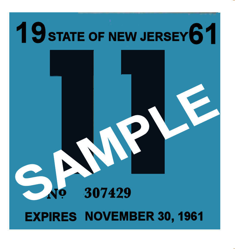1961 New Jersey INSPECTION Sticker
