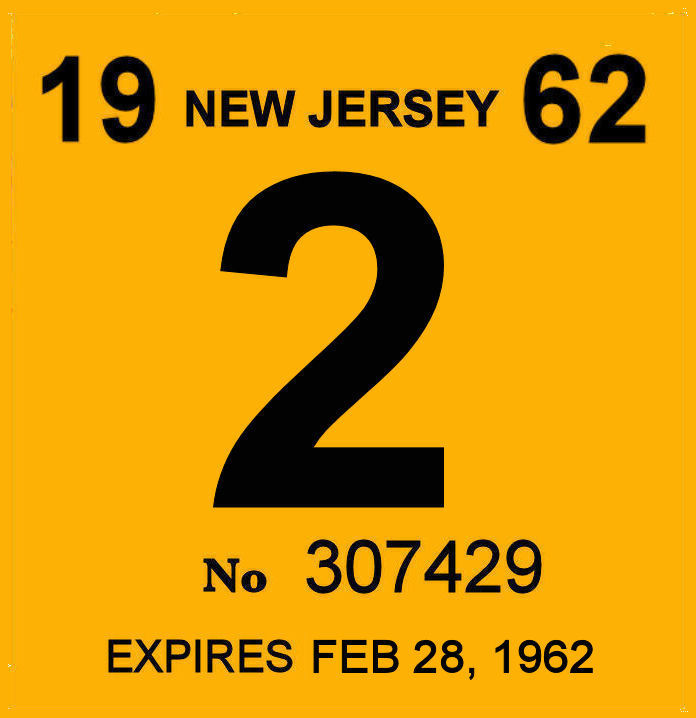 1962 New Jersey INSPECTION Sticker