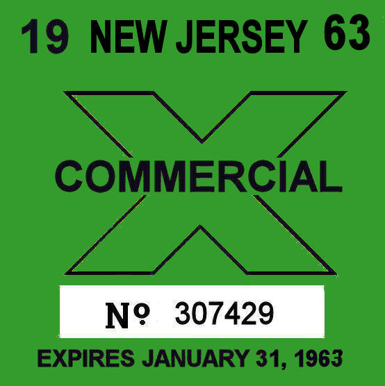 1963 New Jersey Inspection Sticker COMMERCIAL