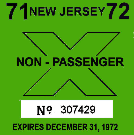 1972 New Jersey Inspection Sticker COMMERCIAL