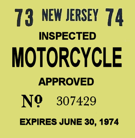 New Jersey Cycle 1973 Inspection Sticker