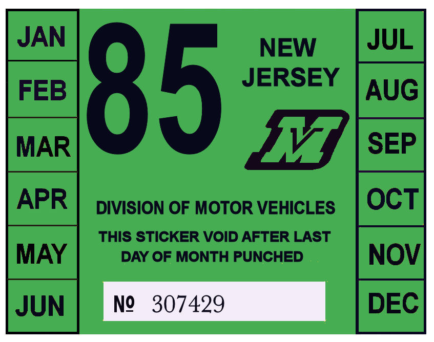 1985 New Jersey Inspection Sticker