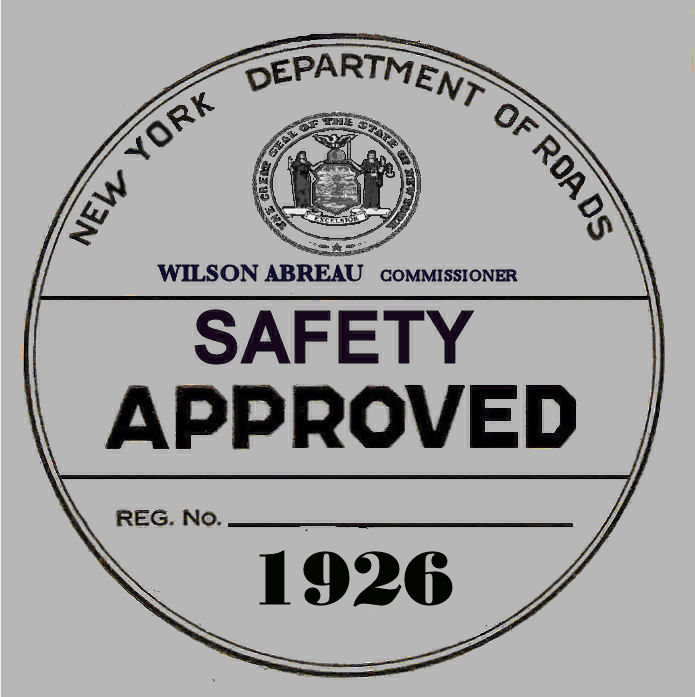 1926 New York Safety Check inspection