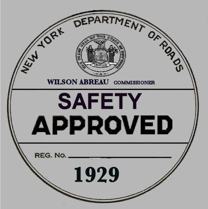 1929 New York Safety Sticker