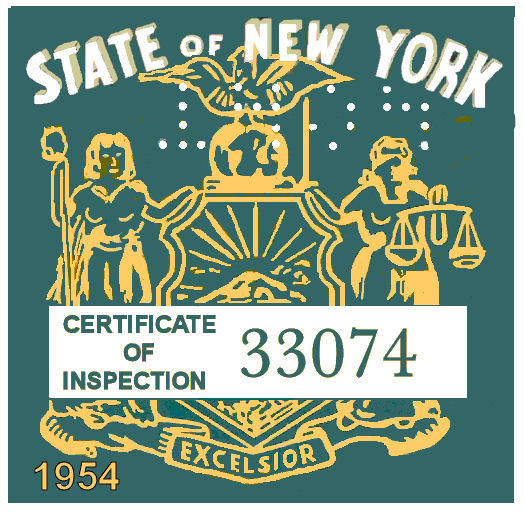 1954 New York State Inspection Sticker