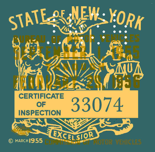 1955 - 56 New York Inspection sticker