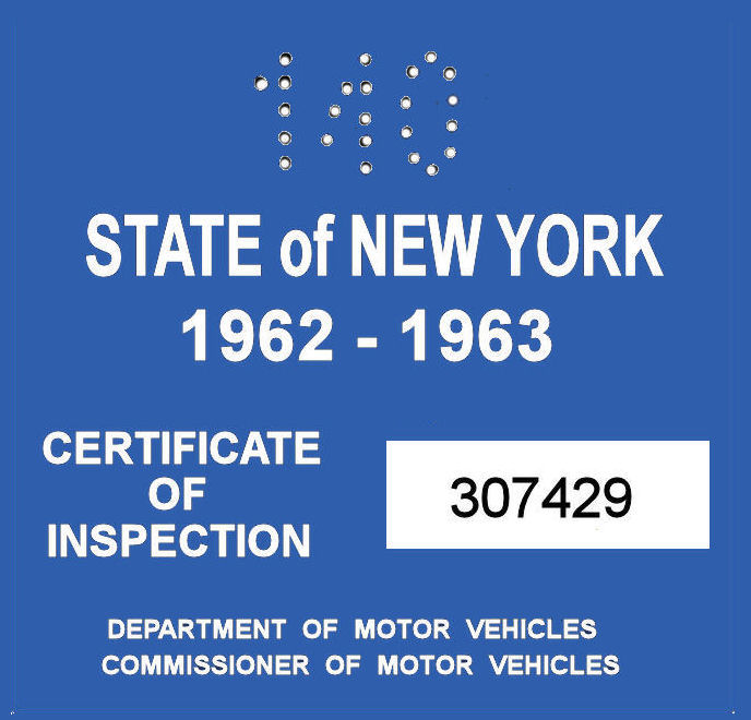 1962-63 New York INSPECTION Sticker