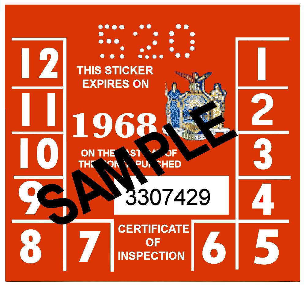 1968 New York INSPECTION Sticker