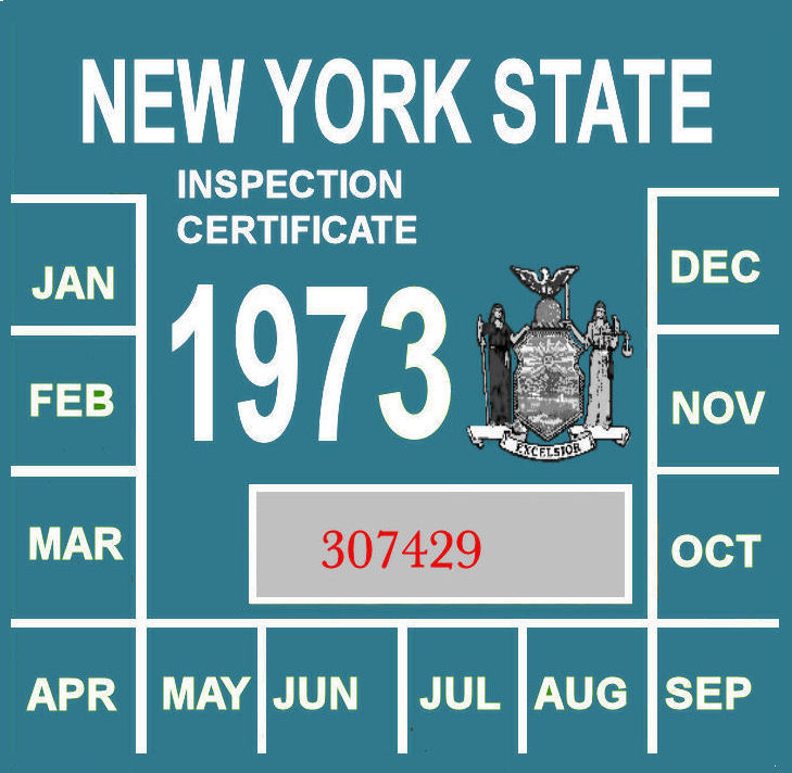 1973 New York INSPECTION Sticker