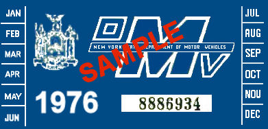 1976 New York INSPECTION Sticker