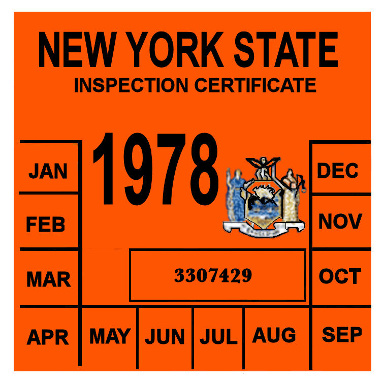 1978 New York INSPECTION Sticker