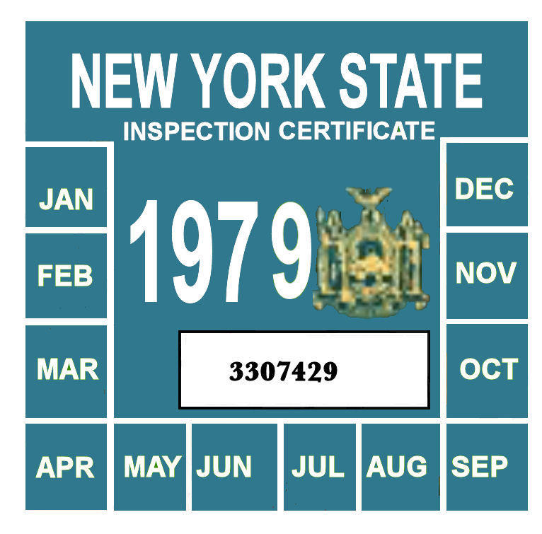 1979 New York INSPECTION Sticker