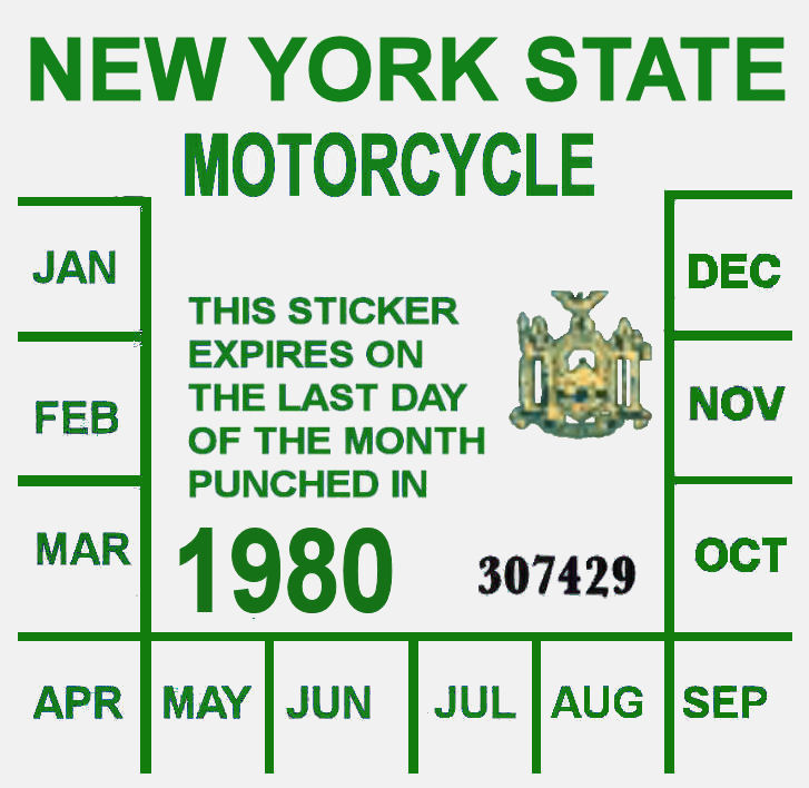 1980 New York Inspection Sticker MOTORCYCLE