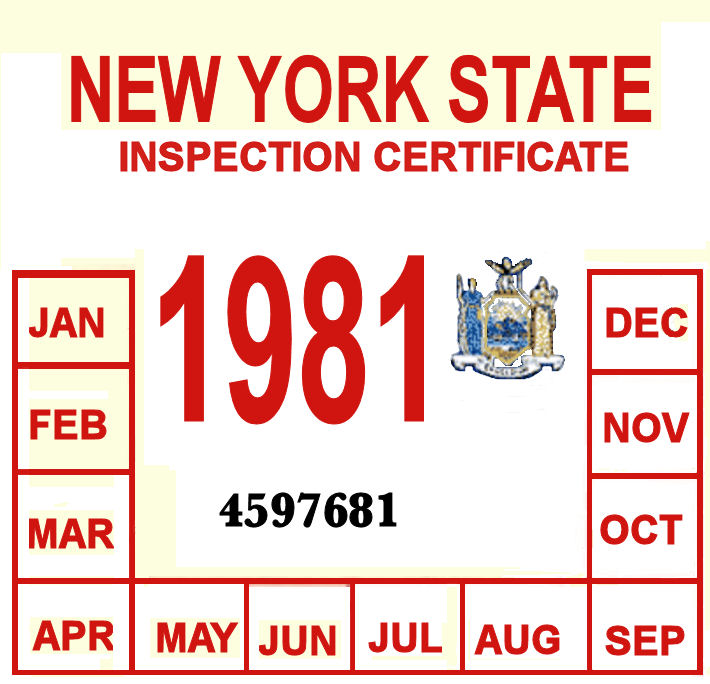 1981 New York INSPECTION Sticker