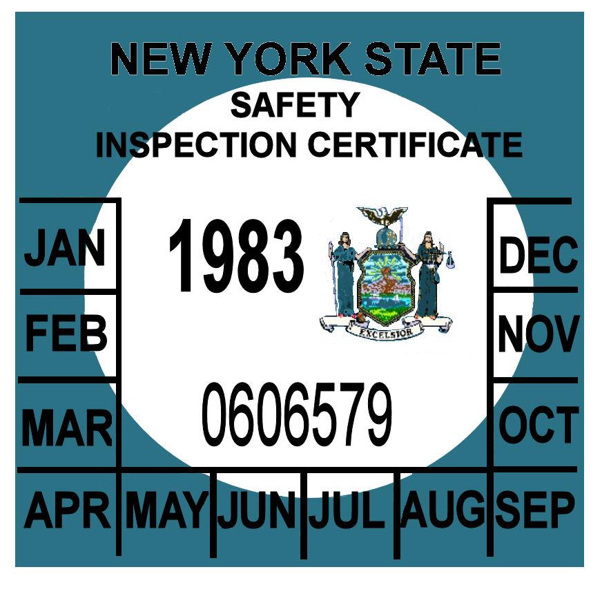 New York State Inspection Sticker Stock Photos