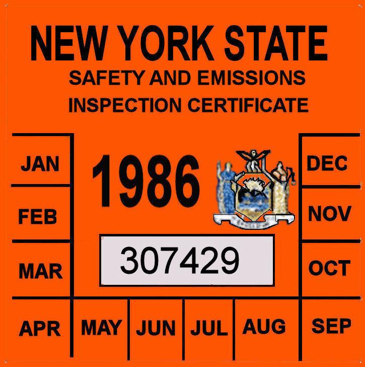 1986 New York Emissions inspection sticker
