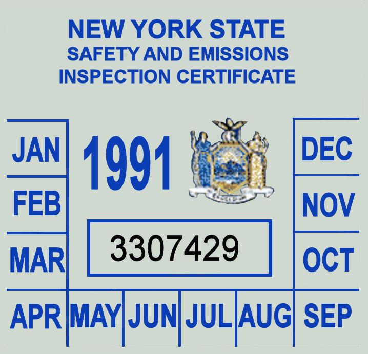 1991 NY inspection sticker