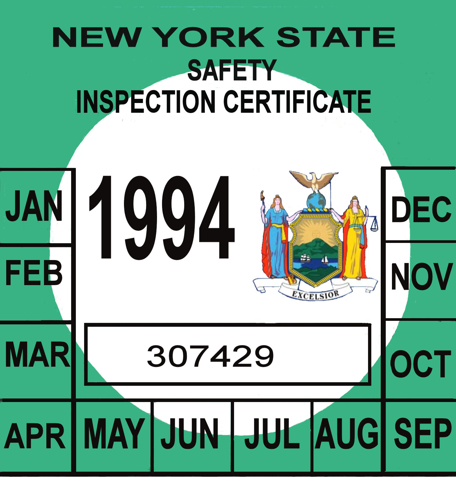1 VINTAGE NOS 1987 NY N.Y.S NEW YORK STATE CAR AUTO SAFETY INSPECTION  STICKER