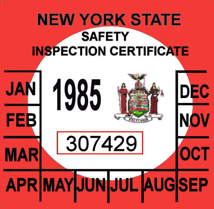 1985 New York Inspection sticker