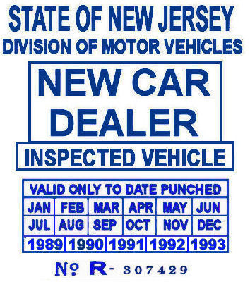 1989-1993 NJ NEW CAR DEALER stickers
