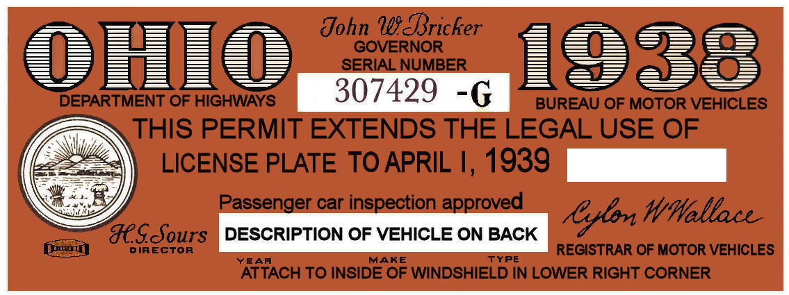 1938 Ohio tax inspection sticker