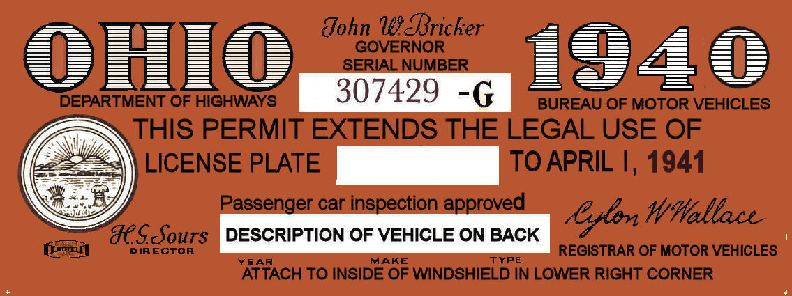 1940 Ohio Registration/inspection sticker