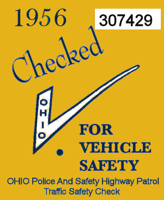 1956 Ohio Safety Inspection sticker