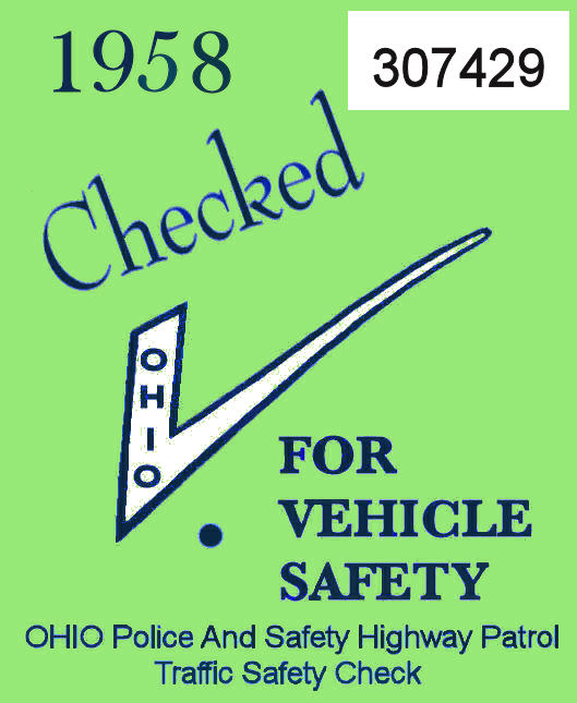 1958 Ohio Safety Check Inspection Sticker